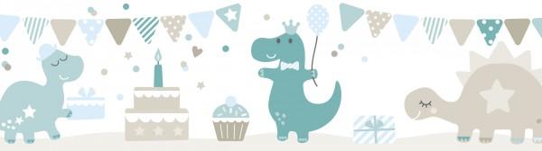"""lovely label Bordüre, Babyzimmer """"Dino Party"""" Dino, Party - Baby Junge & Mädchen - Blau, Beige, Grau"""