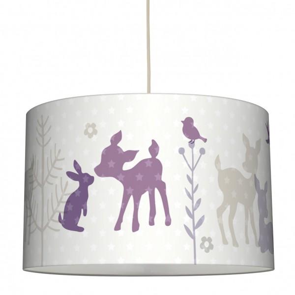 lovely label Lampenschirm Kinderzimmer Rehe & Sterne Junge/Mädchen Beige/Lila