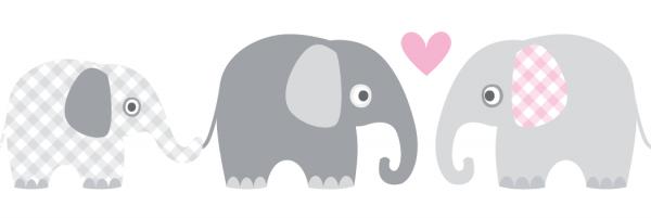 "lovely label Bordüre, Babyzimmer ""Elefanten"" Tiere - Baby Junge & Mädchen - Grau, Rosa"