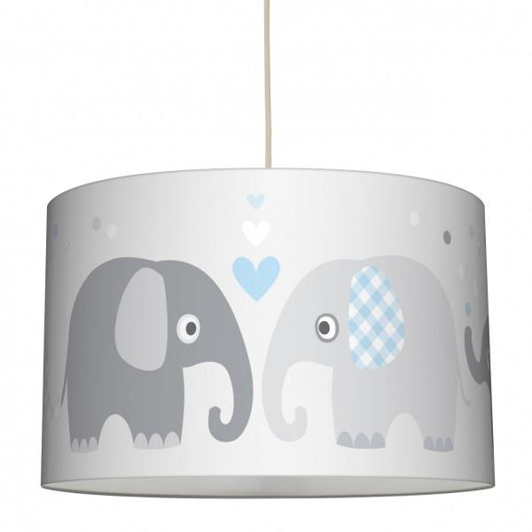 """lovely label Hängelampe Lampenschirm, Babyzimmer """"Elefant"""" Herz - Baby Junge & Mädchen - Blau, Grau"""