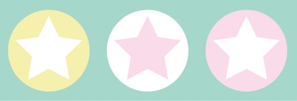 "lovely label Bordüre, Babyzimmer ""Sterne"" - Baby Junge & Mädchen - Pastell, Rosa, Gelb"
