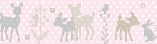 lovely label Bordüre Wandbordüre selbstklebend Wanddeko Häschen Rehe beige rosa Baby Babyzimmer