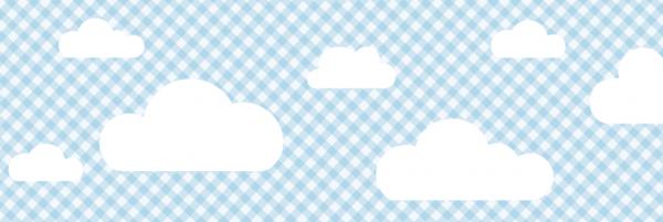"""lovely label Bordüre, Babyzimmer """"Wolken"""" kariert - Baby Junge & Mädchen - Blau"""