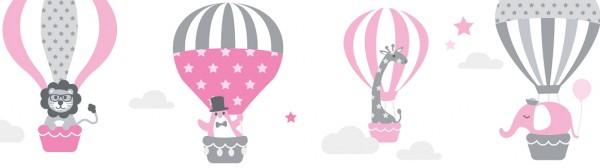 "lovely label Bordüre, Babyzimmer ""Heißluftballon"" Tiere - Baby Junge & Mädchen - Rosa, Grau"