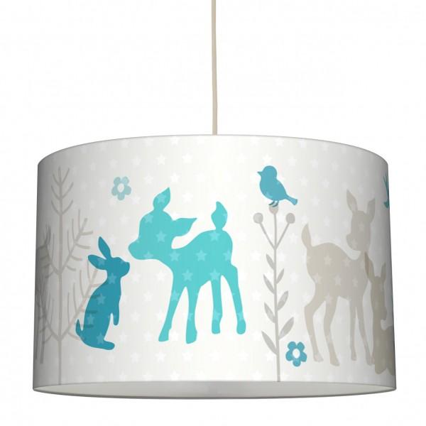 lovely label Lampenschirm Kinderzimmer Rehe & Hasen Junge/Mädchen Beige/Türkis