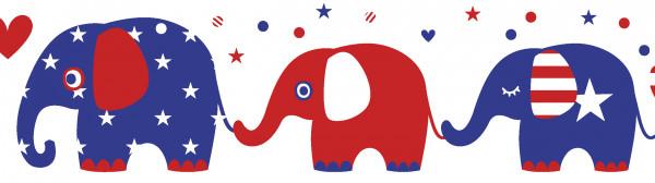 "Bordüre ""United Elephants"" Rot/Weiss/Blau"