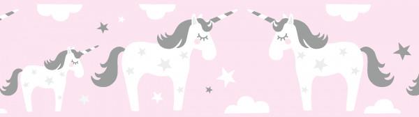 lovely label Bordüre Wandbordüre selbstkleben Wanddeko Einhorn rosa grau Kinderzimmer Mädchen/Junge