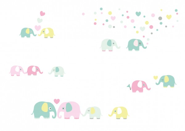 "lovely Label Wandtattoo Wandsticker Babyzimmer ""Elefant"" - Baby, Junge/Mädchen - Mint/Rosa/Gelb"