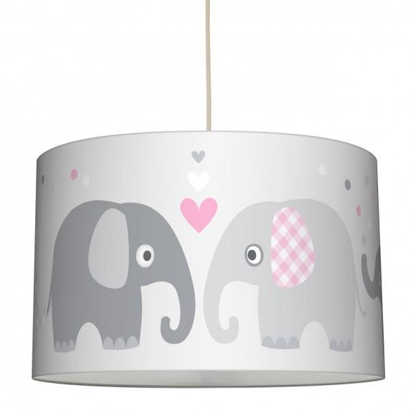 """lovely label Hängelampe Lampenschirm, Babyzimmer """"Elefant"""" Herz - Baby Junge & Mädchen - Rosa, Grau"""