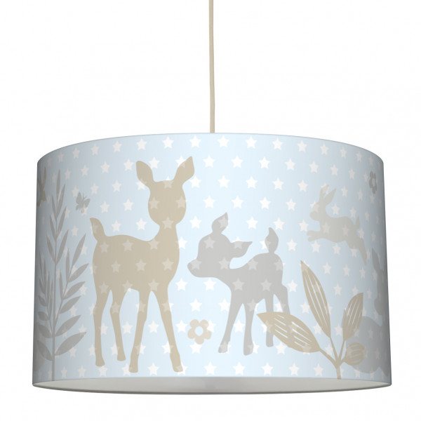 lovely label lampe rehlein häschen hängelampe lampenschirm kinderzimmer babyzimmer baby kind mädchen hellblau