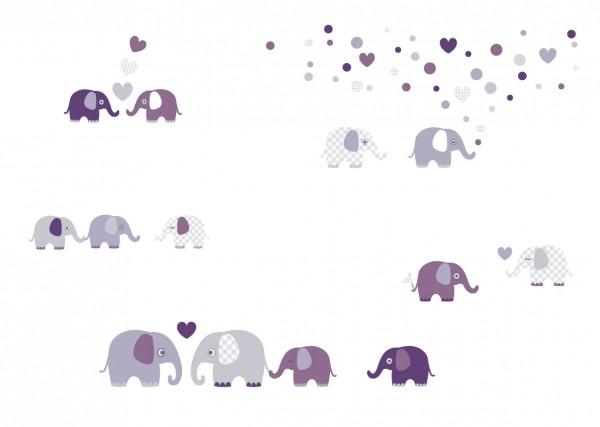 "lovely Label Wandtattoo Wandsticker Babyzimmer ""Elefant"" - Baby, Junge/Mädchen - Lila/Grau"