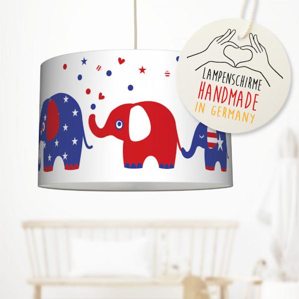 LL-LS-9433 lovely label Deckenlampe Baby Kinder Lampenschirm Deckenleuchte Kinderzimmer Deko Hängelampe Pendelleuchte Elefanten United Elephants stars stripes blau weiß rot