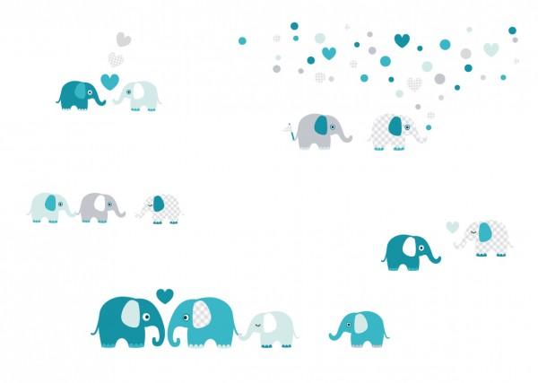 """lovely Label Wandtattoo Wandsticker Babyzimmer """"Elefant"""" - Baby, Junge/Mädchen - Blau/Grau"""