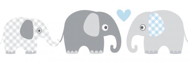 """lovely label Bordüre, Babyzimmer """"Elefanten"""" Tiere - Baby Junge & Mädchen - Grau, Blau"""
