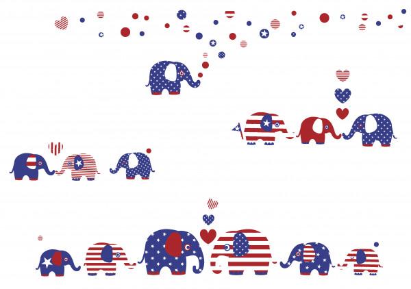 """lovely label Wandsticker-Set """"United Elephants"""" Rot/Weiss/Blau"""