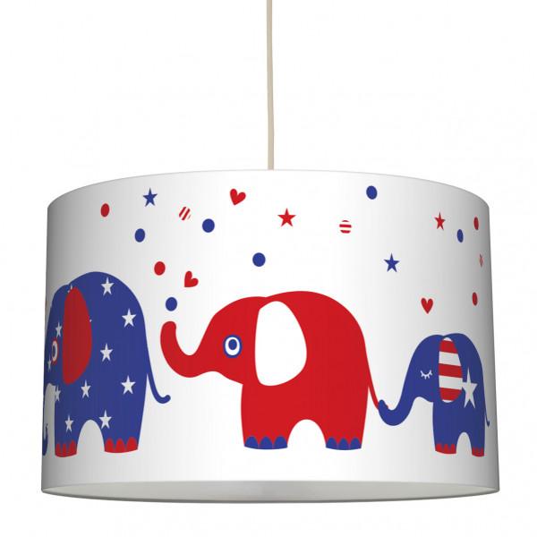 "Hängelampe ""United Elephants"" Rot/Weiss/Blau ø 30 x 20 cm"