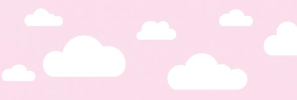 "lovely label Bordüre, Babyzimmer ""Wolken"" - Baby Junge & Mädchen - Rosa"