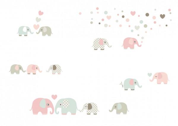 """lovely Label Wandtattoo Wandsticker Babyzimmer """"Elefant"""" - Baby, Junge/Mädchen - Pastell/Apricot/Beige"""