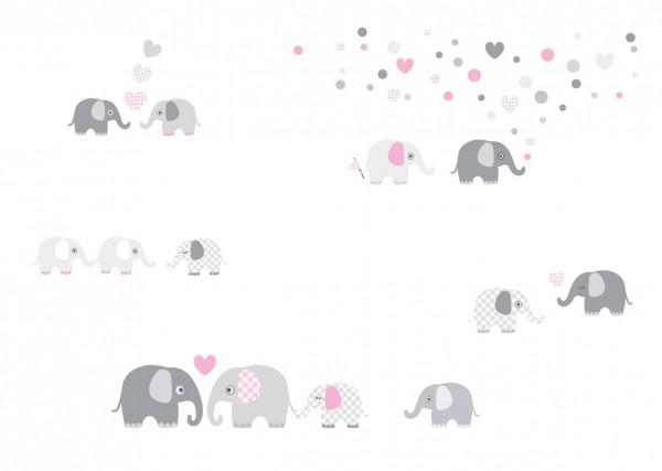 "lovely Label Wandtattoo Wandsticker Babyzimmer ""Elefant"" - Baby, Junge/Mädchen - Rosa/Grau"