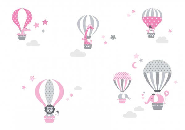 """lovely Label Wandtattoo Wandsticker Babyzimmer """"Heißluftballon"""" - Baby, Junge/Mädchen - Rosa/Grau"""