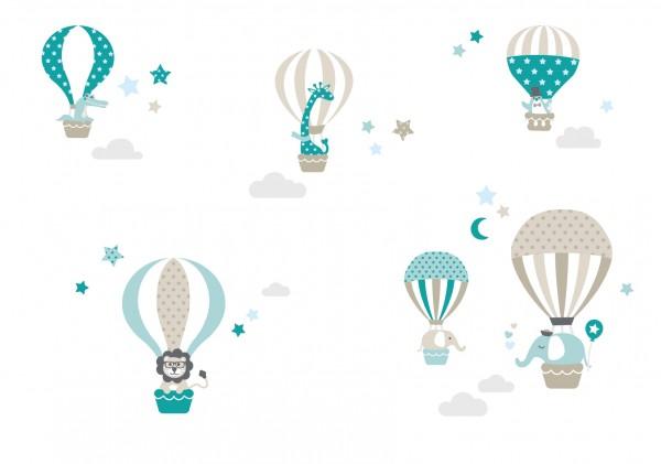 """lovely Label Wandtattoo Wandsticker Babyzimmer """"Heißluftballon"""" - Baby, Junge/Mädchen - Blau/Beige"""