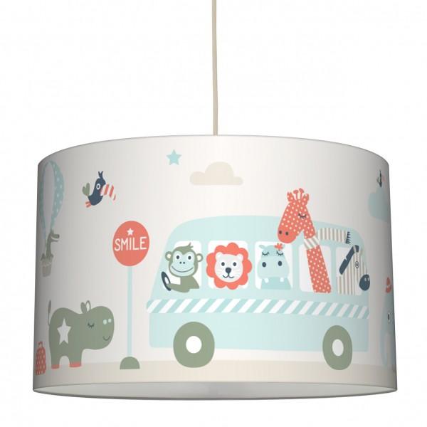 lovely label Lampenschirm/Hängelampe Kinderzimmer/Baby Junge/Mädchen Tiere Beige/Mint/Rot