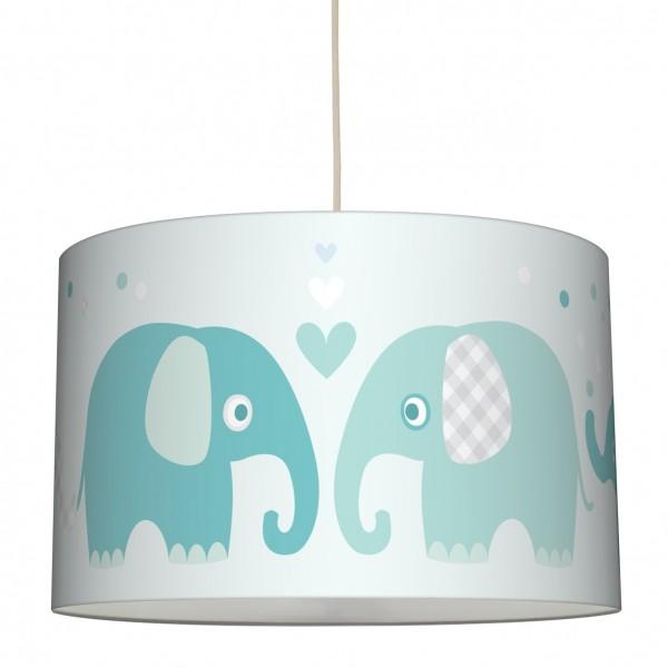 """lovely label Hängelampe Lampenschirm, Babyzimmer """"Elefant"""" Herz - Baby Junge & Mädchen - Grün, Grau, Weiss"""