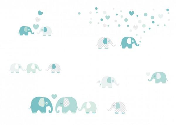 """lovely Label Wandtattoo Wandsticker Babyzimmer """"Elefant"""" - Baby, Junge/Mädchen - Mint/Grau"""