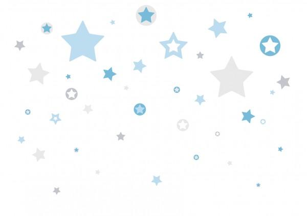 """lovely Label Wandtattoo Wandsticker Babyzimmer """"Sterne"""" - Baby, Junge/Mädchen - Blau/Grau"""